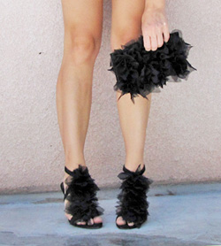 Ruffled purse and shoes