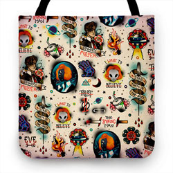 X Files Flash Tattoo Pattern Tote Bag Criminal Element