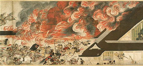 From Japan's 13th century, artwork of the attack at Sanjo Palace