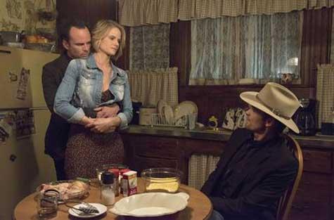 Walton Goggins as Boyd Crowder, Joelle Carter as Ava Crowder, Timothy Olyphant as Deputy U.S. Marshal Raylan Givens